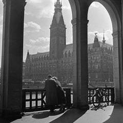 Couple standing at Colonnade to city hall Hamburg, Germany 1938, Printed Later