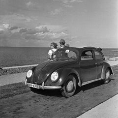 Traveling to the seaside in the Volkswagen beetle, Germany 1937 Printed Later
