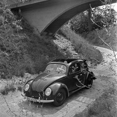 Travelling by car in the Volkswagen beetle, Germany 1939 Printed Later