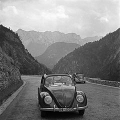 Travelling by Volkswagen beetle through mountains, Germany 1939 Printed Later