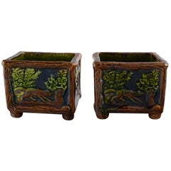 Karl Holst for Höganäs, a Pair of Antique Art Nouveau Bowls in Glazed Ceramics