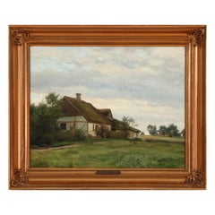 Karl Jensen View from a Thatched Farmhouse, Signed and Dated K. J. 1910