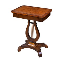 Karl Johan Salon Table in Birchwood with Lyre Pedestal, Sweden, circa 1820