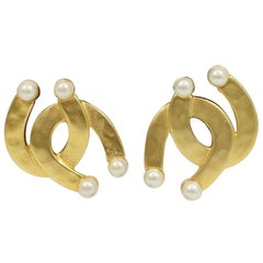 Karl Lagerfeld 1980's Horseshoe Gold & Pearl Clip Earrings