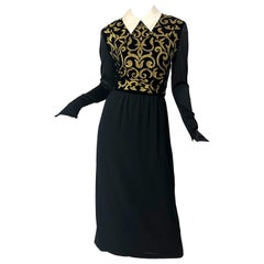 Karl Lagerfeld 1980s Size 40 US 8 Black Gold Embroidered Vintage 80s Gown Dress