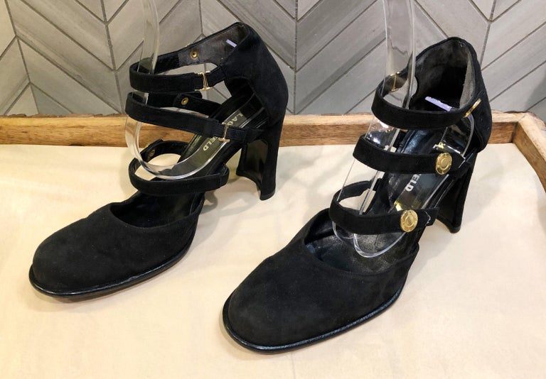 Karl Lagerfeld 1990s Size 6 Black Suede Leather Bondage Inspired Vintage Heels In Good Condition For Sale In Chicago, IL