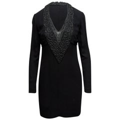 Karl Lagerfeld Black Embellished Long Sleeve Dress