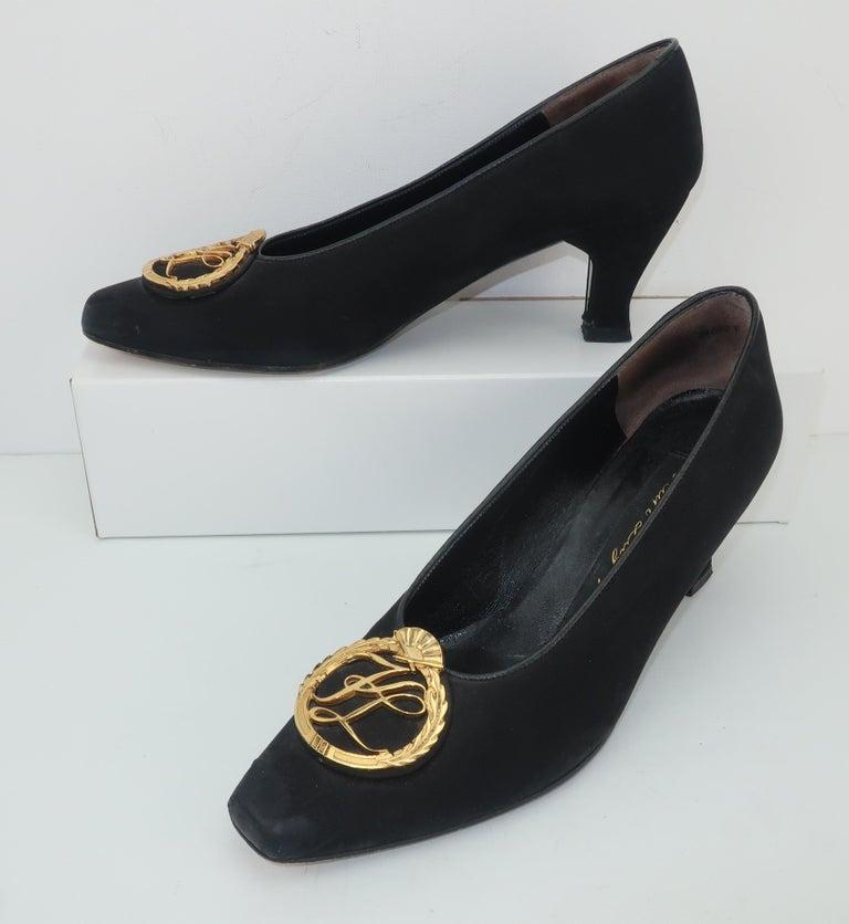 Women's Karl Lagerfeld Black Suede Gold Logo Medallion Shoes Sz 7M, C.1990 For Sale