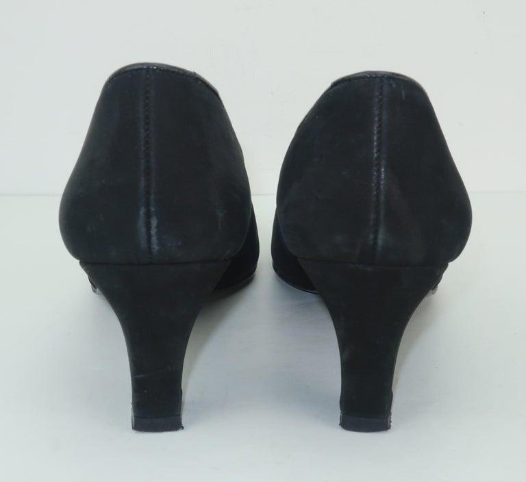 Karl Lagerfeld Black Suede Gold Logo Medallion Shoes Sz 7M, C.1990 For Sale 1