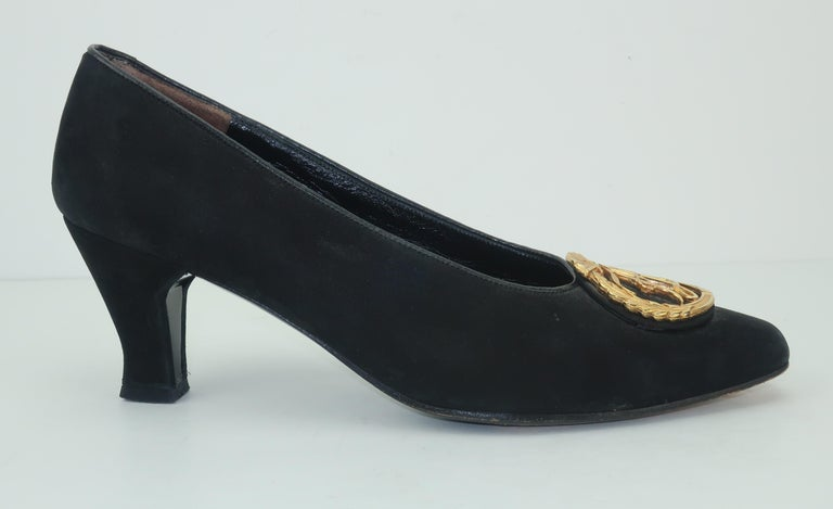 Karl Lagerfeld Black Suede Gold Logo Medallion Shoes Sz 7M, C.1990 For Sale 2