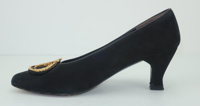 Karl Lagerfeld Black Suede Gold Logo Medallion Shoes Sz 7M, C.1990 For Sale 3