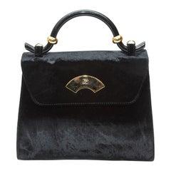 Karl Lagerfeld Black Velvet Crossbody Bag