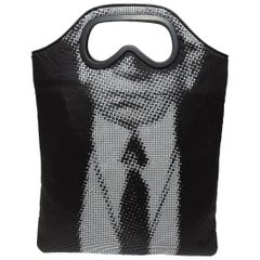 Karl Lagerfeld Black & White Limited Edition Chain Mail Face Print Bag