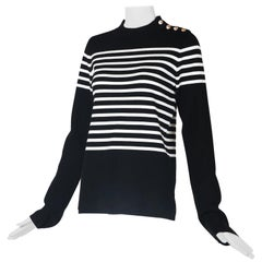 Karl Lagerfeld Black & White Striped Breton Sweater W/Silvertone Buttons