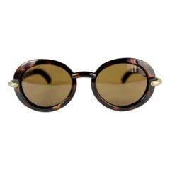 Karl Lagerfeld Brown Tortoise Round Lenses PC Cridalon Sunglasses 1990s