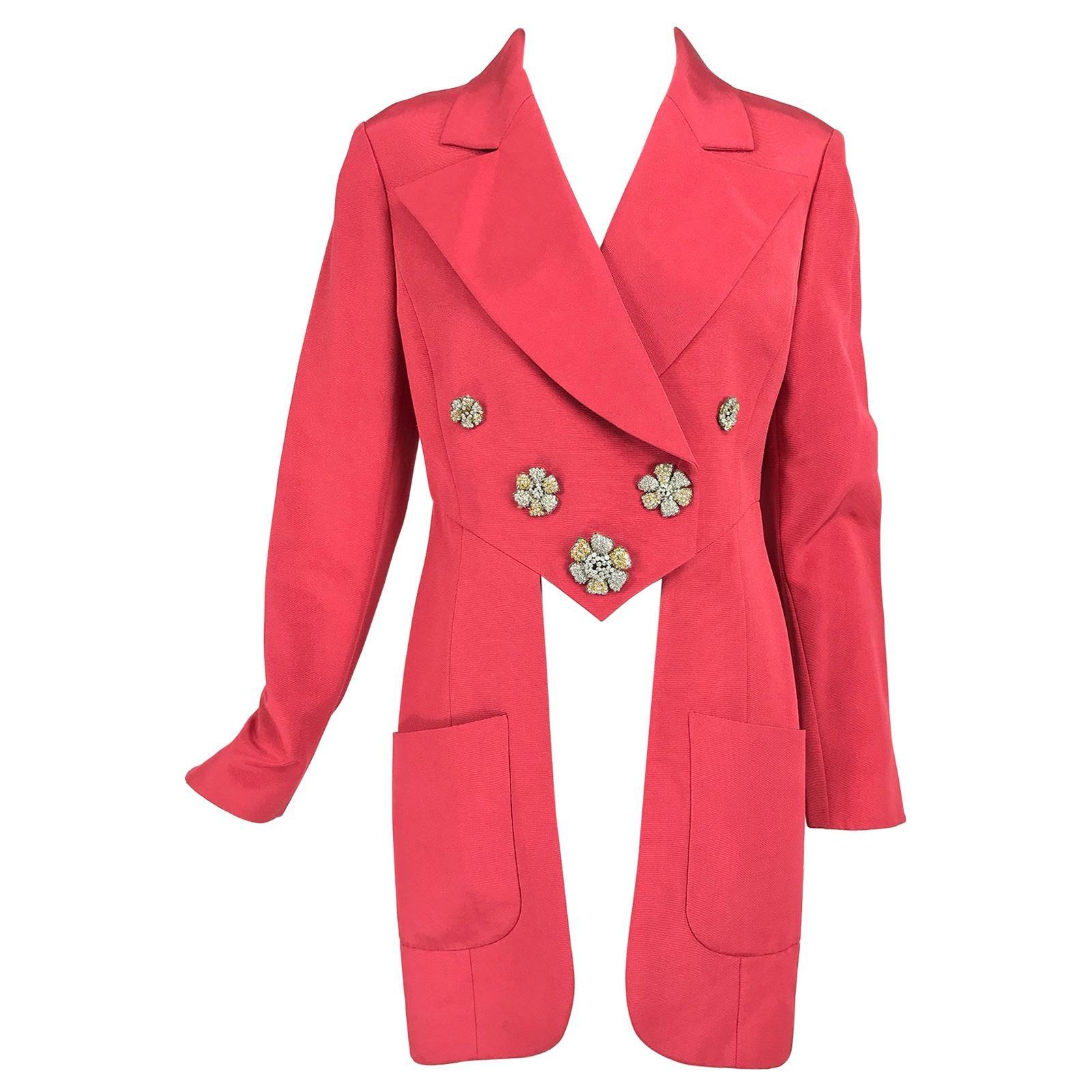 Karl Lagerfeld Coral Red Silk Faille Reddingote Style Coat 1990s