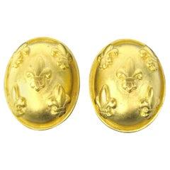 Karl Lagerfeld Earrings Black Gold Gilt Fleur de Lis  New, Never Worn
