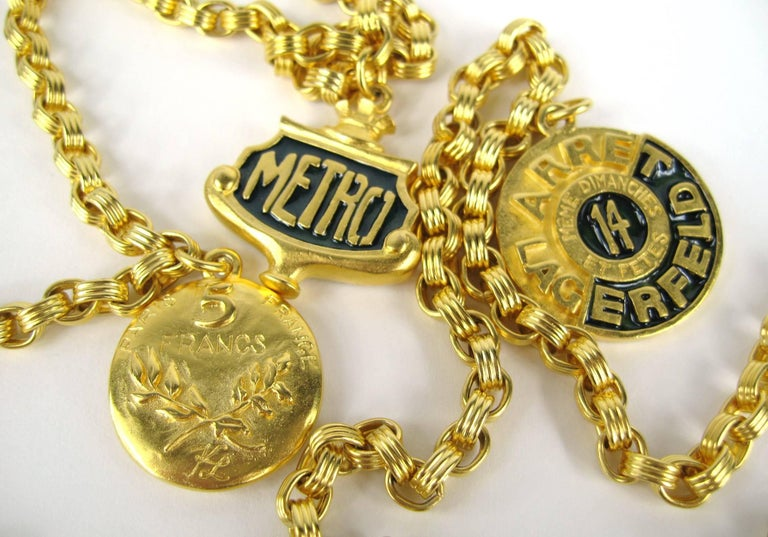 Karl Lagerfeld Enameled Charm Necklace 14 Blvd De La Madeleine New, Never Worn  In New Condition For Sale In Wallkill, NY