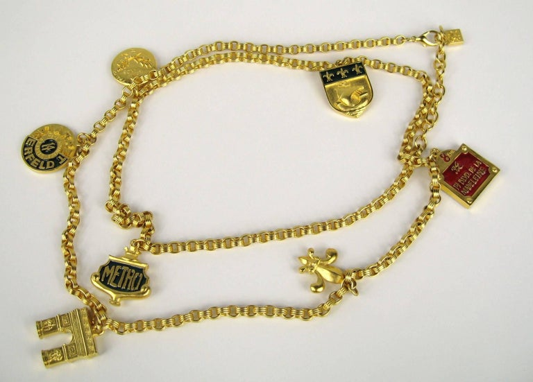 Karl Lagerfeld Enameled Charm Necklace 14 Blvd De La Madeleine New, Never Worn  For Sale 1