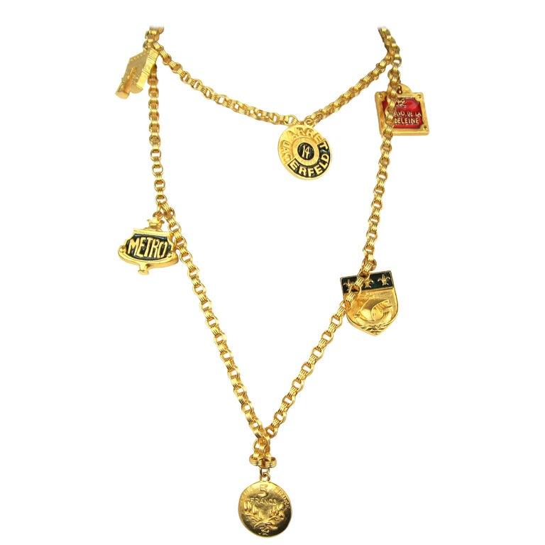 Karl Lagerfeld Enameled Charm Necklace 14 Blvd De La Madeleine New, Never Worn  For Sale