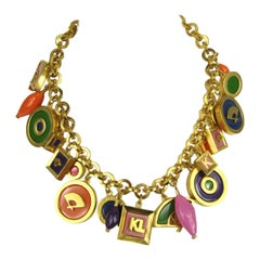 Karl Lagerfeld Enameled Charm Necklace 1980s New never worn