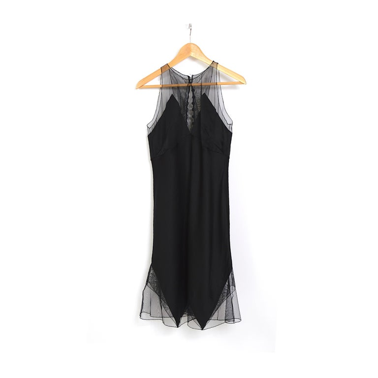 Karl Lagerfeld fall 1994/95 vintage black silk dress with matching top For Sale 6