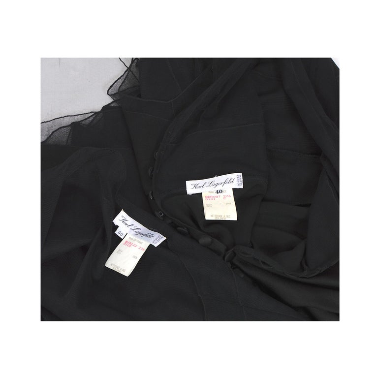 Karl Lagerfeld fall 1994/95 vintage black silk dress with matching top For Sale 7