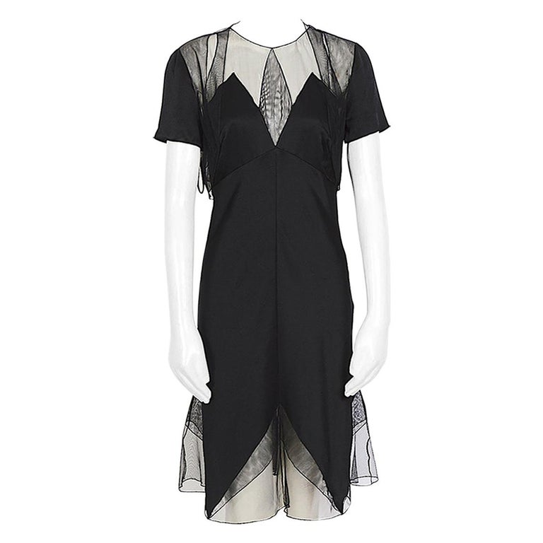 Karl Lagerfeld fall 1994/95 vintage black silk dress with matching top For Sale
