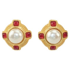 Karl Lagerfeld Faux Mabe Pearl & Amber Gold Earrings