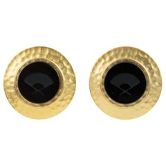 Karl Lagerfeld Gilt Metal Clip Earrings with Black Intaglio
