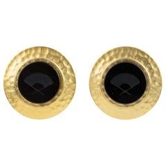 Karl Lagerfeld Gilt Metal Clip Earrings with Black Intaglio