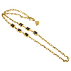 Karl Lagerfeld Gilt Metal Long Necklace with Black Resin Cabochons