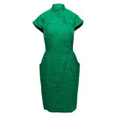 Karl Lagerfeld Green Linen Double-Breasted Dress