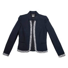 KARL LAGERFELD Jacket in Blue Cotton Lined with Tweed Size 42IT