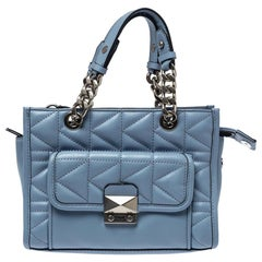 Karl Lagerfeld Light Blue Quilted Leather Mini Tote