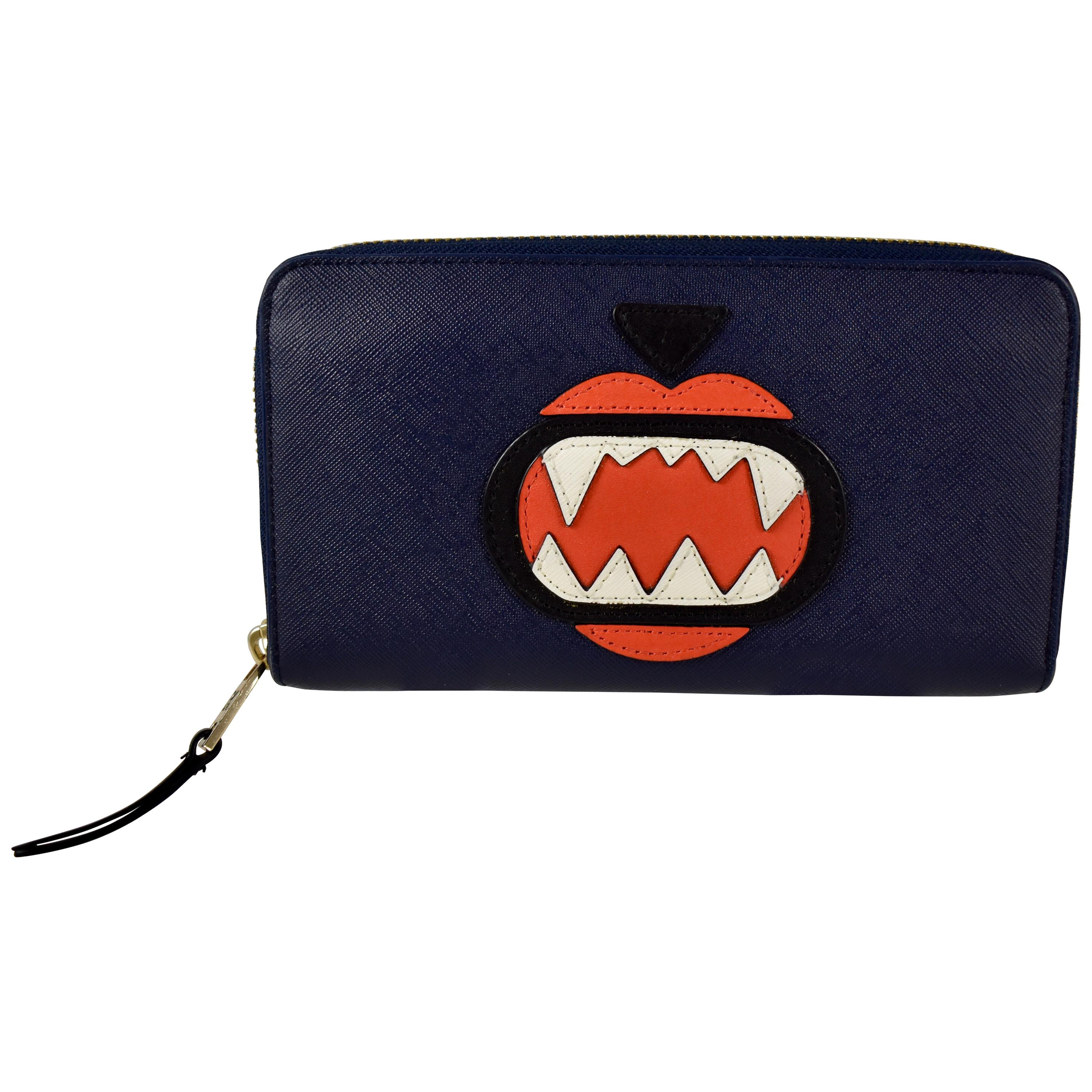 Karl Lagerfeld Monster Choupette Navy Blue Zippered Leather Continental Wallet