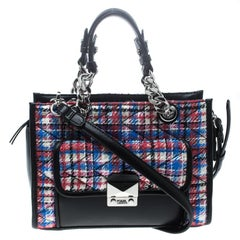 Karl Lagerfeld Multicolor/Black Quilted Tweed and Leather Mini Tote
