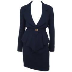 Karl Lagerfeld Navy Blue Peplum Skirt Suit C.1990
