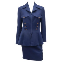 Karl Lagerfeld Navy Blue Skirt Suit With Gold Buttons