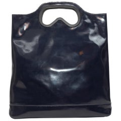Karl Lagerfeld Navy Patent Leather Tote Bag