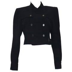 Karl Lagerfeld Navy Wool Jacket w/ Side Belt Circa 1990s
