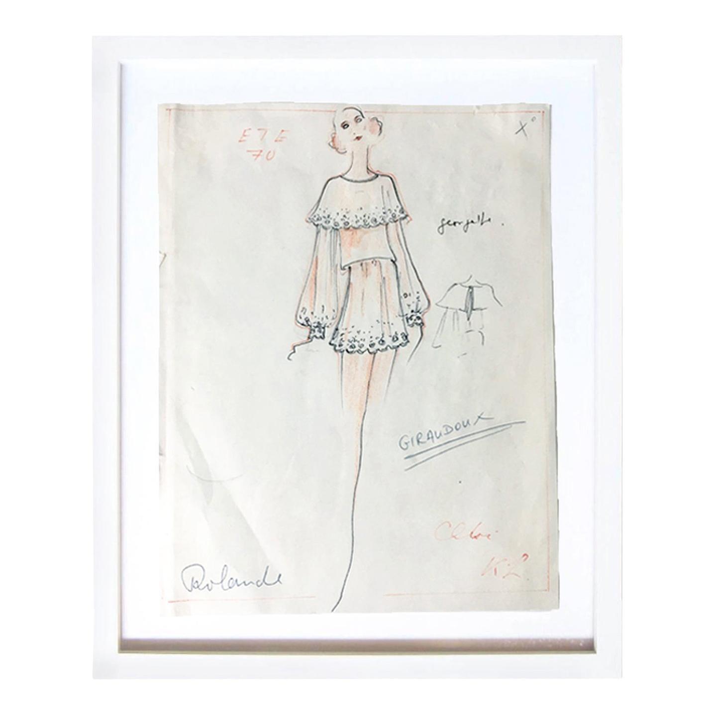 Karl Lagerfeld Original Sketch Croquis For Chloe Mini Dress 1970
