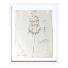 Karl Lagerfeld Original Sketch Croquis For Chloe Mini Dress 1970