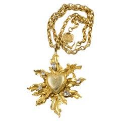 Karl Lagerfeld Paris Gilt Metal Long Necklace Heart with Sword Ex-voto Pendant
