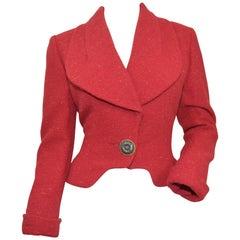 Karl Lagerfeld Red Confetti Tweed Cropped Jacket