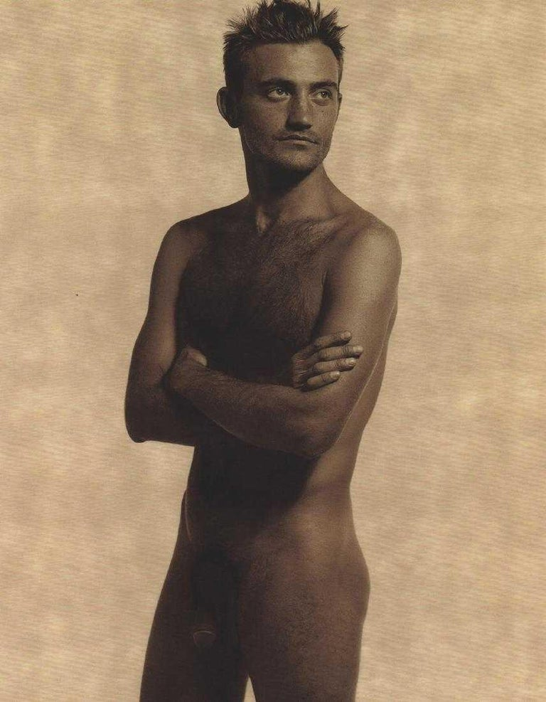 Gorgeous photo print by the iconic photographer and fashion designer Karl Lagerfeld of Max Delorme. Image captured and satin finish umber photo-lithograph printed in 1997. Measures: 10.75 x 13.25 inches. Unframed.