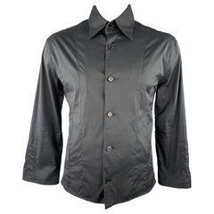 KARL LAGERFELD Size 42 Black Cotton Blend Shirt Jacket