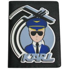 Karl Lagerfeld Sold Out Passport Case 'Fly with Karl' Collection in Black PVC