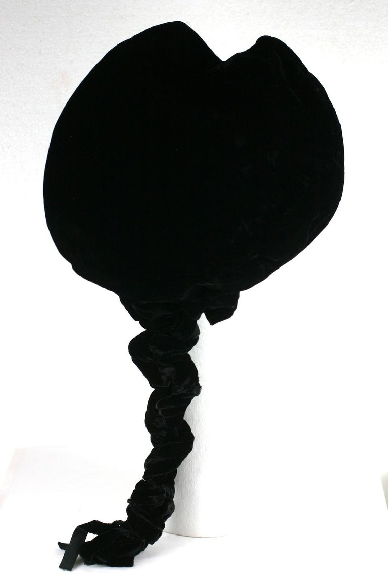 Gray Karl Lagerfeld Velvet Beret with Braid For Sale