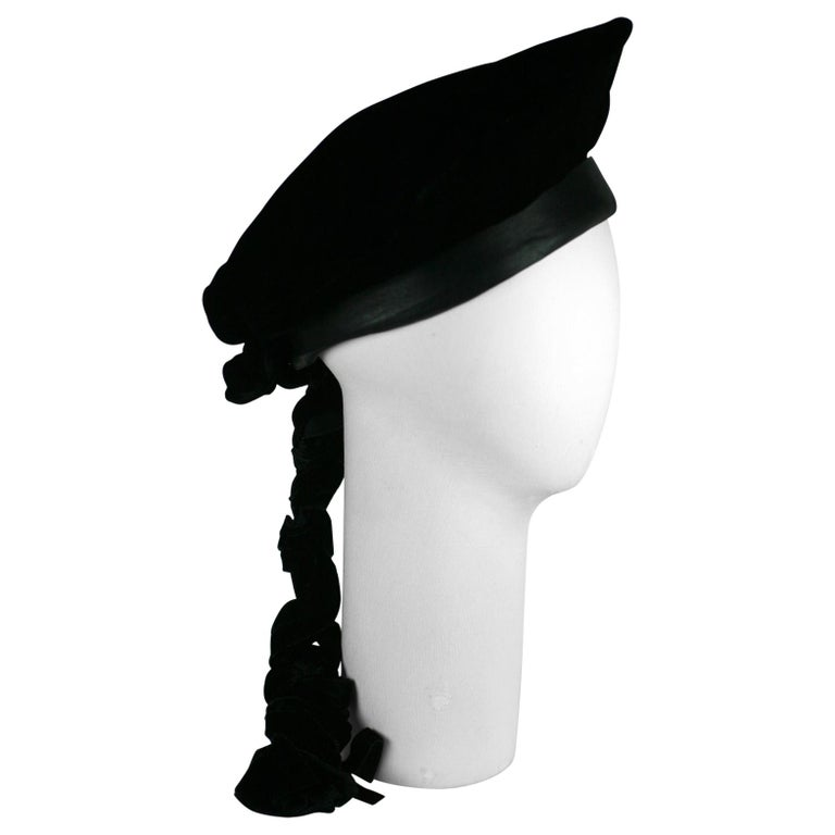 Karl Lagerfeld Velvet Beret with Braid For Sale